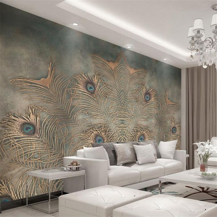 Beibehang Custom Wallpaper Modern Chinese Peacock Feather TV Background 3D Wallpaper  Living Room Bedroom Background Murals Part 85