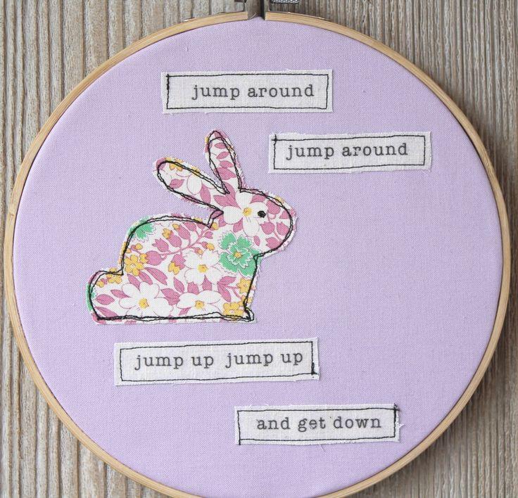 "Easter Bunny Jump Around Funny Retro 8"" Hoop Art, Freehand Machine Embroidery, Handmade Original Wall Art by VintageFreshDesign on Etsy https://www.etsy.com/listing/269741539/easter-bunny-jump-around-funny-retro-8"