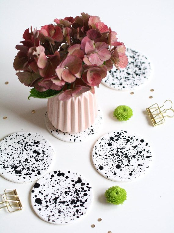 Black and White Polymer Clay Coasters  Round by Mahalolena on Etsy