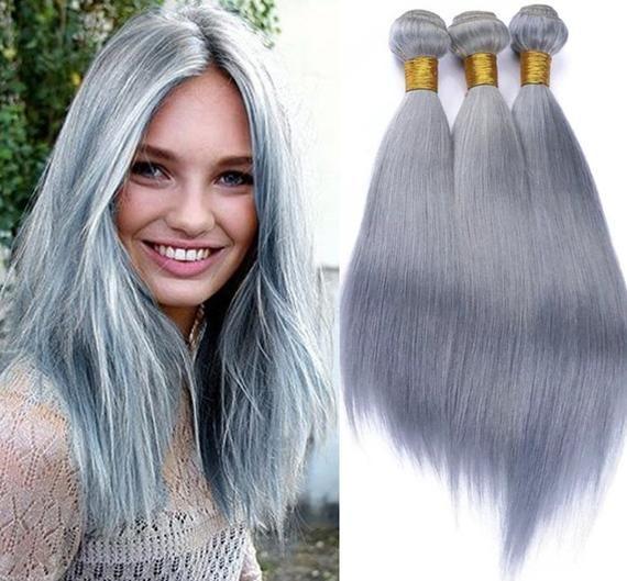 3bundles grey human hair extensions ash grey human hair bundles brazilian hair wefts gray hair weav
