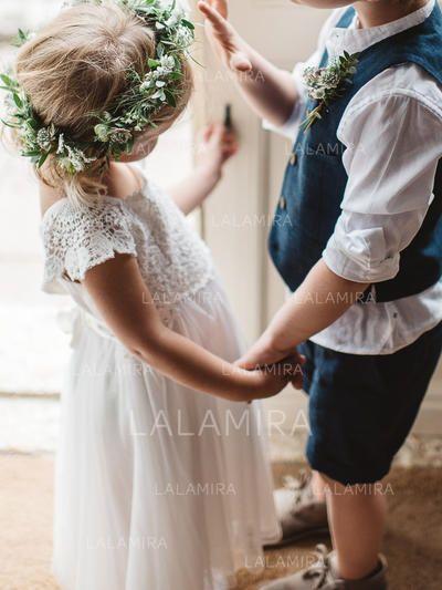 04eb0e3ba62 A-Line Princess Square Neckline Ankle-length Chiffon Lace Short Sleeves  Flower Girl Dresses (010145249)
