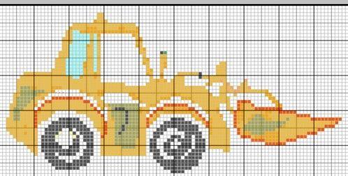 Véhicule - véhicle - peleteuse - point de croix - cross stitch - Blog : http://broderiemimie44.canalblog.com/