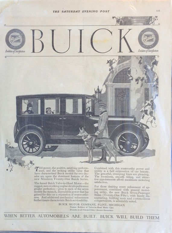 1920 Buick antique car advertisement with German shepherd dog. Beautiful full page ad from the Saturday Evening Post. We love this illustration. In excellent antique condition. Measures 11 inches by 14 inches. This would look gorgeous framed. A fabulous collectible or gift for