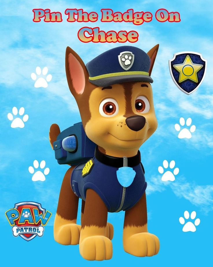 Paw Patrol Pin the Badge Game, Party Games, Pin The Tail, Paw Patrol