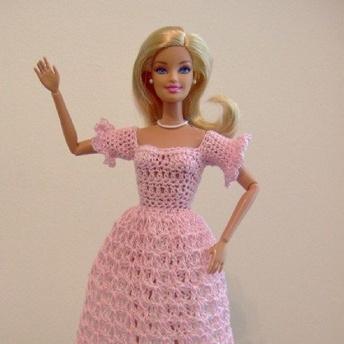 Crocheted Barbie Long Dress in Pink with White Underskirt