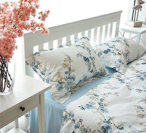 garden chinoiserie floral duvet quilt cover asian porcelain style tree blossom and birds blue and white