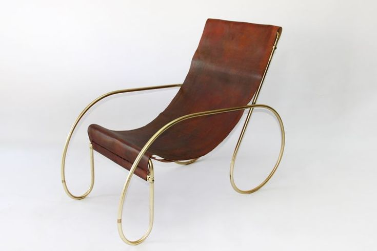 brass plated hairpin bent steel sling chair with custom leather sling