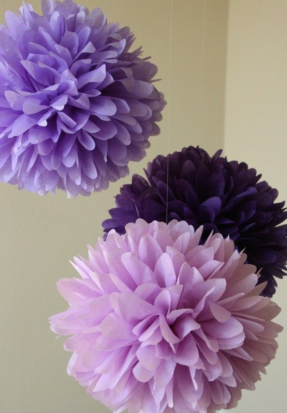 Pansy .. Tissue Paper Poms / Weddings / Bridal Shower by PartyPoms