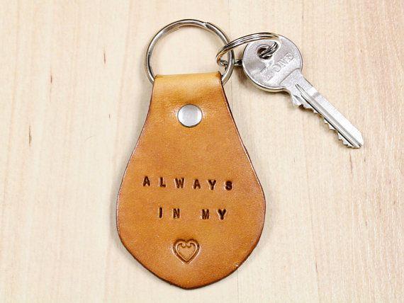 Handmade Always In My Heart Keyring, Leather Keyring, Handmade Keyring, Romantic Gift, Repin To Remember. #alwaysinmyheart, #iloveyou, #leatherkeyring, #handmadekeyring, #leatherkeyfob, #leatherkeychain