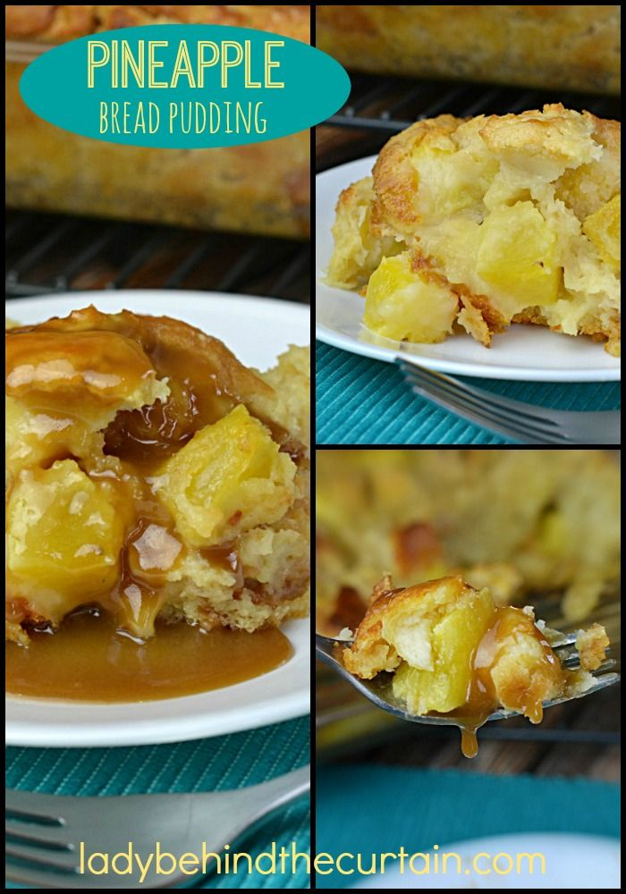 This Pineapple Bread Pudding is a little piece of Hawaiian sunshine. This moist bread pudding is filled with chunks of fresh pineapple and drizzled with my Easy Caramel Sauce.