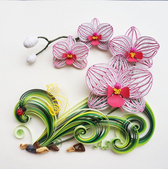 handmade paper quilling orchids framed in shadow box birthday gift wall art papper pinterest. Black Bedroom Furniture Sets. Home Design Ideas