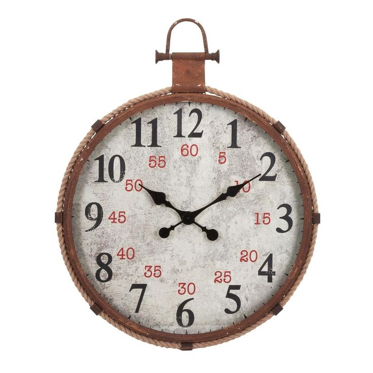 "32.5"" x 25.5"" Oceanographic Vintage Style Brown Clock with Rope Detail"