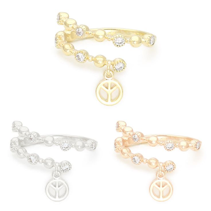 Peace Sign Symbol Wrap Ring Size Free Made in Korea #WannaBeStones #Wrap