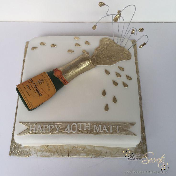 Square, fondant with edible gold detail. Happy 40th Matt. Sweet Secrets, Novelty…