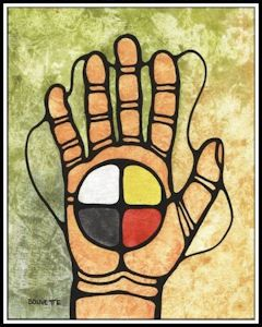 PEACE SYMBOL  It is my feeling that the medicine wheel is a far better symbol of peace than any other I could paint. I have painted it in the palm of a hand to show that the decision to live life of peace is in our own hands. This is the Medicine Wheel as I have learned it, here along Lake Superior among the Ojibwe.   A. Bouvette