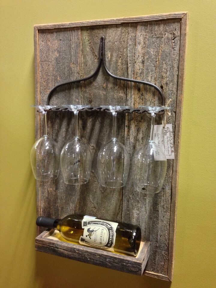 PinMaster original wall mount Rustic Rake Wine Rack