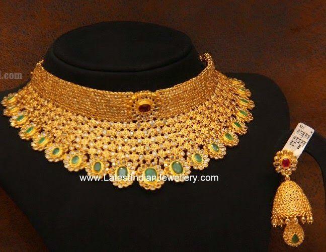 uncut diamond bridal choker necklace jhumka