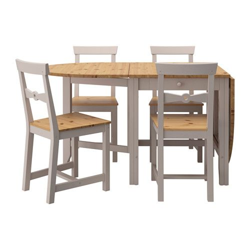 IKEA - GAMLEBY, Table and 4 chairs, Solid pine is a natural material that ages beautifully and acquires its own unique character over time.It's quick and easy to change the size of the table to suit your different needs. It extends to seat from 4 to 6 people.Convenient drawer under the table top for storing silverware, napkins or placemats near the table.