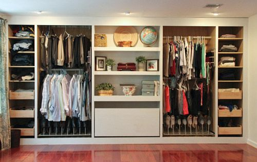 Reader Redesign: Take Two | Young House Love.  Love love love this closet configuration- especially the pull out rack for scarves.