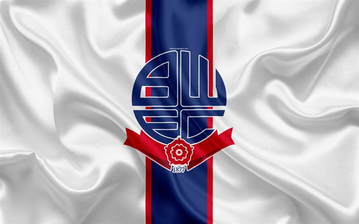 Download wallpapers Bolton Wanderers FC, emblem, logo, 4k, silk flag, Bolton, UK, English football club, Football League Championship, Second League, football