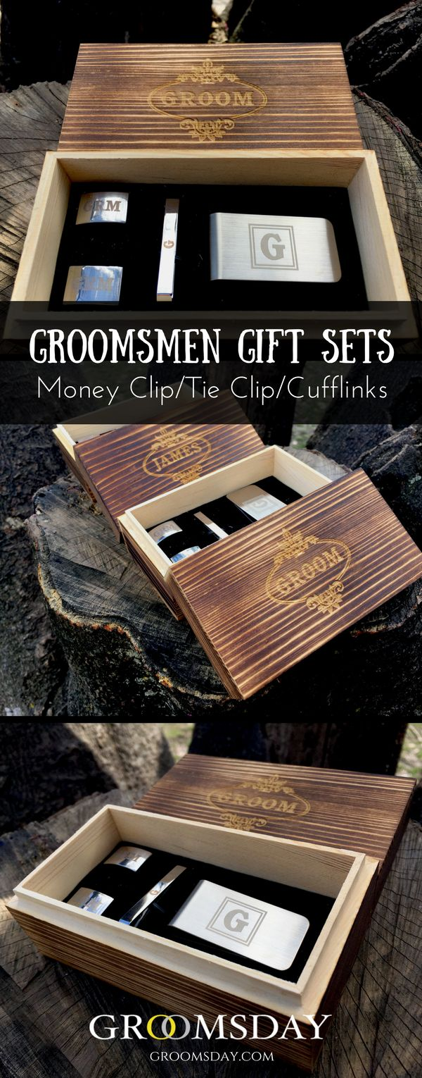 Get this personalized groomsmen gift set which contains a money clip, a tie clip,and a pair of cufflinks, all made from metal because we know, metal is straight class, gives a refined and polished look and it's the perfect medium and can turn you into your woman's knight in shining armor if done right. Share & repin! Only from Groomsday | Groomsday.com #cufflinks #moneyclip #tieclip #groom #groomsmen #groomsmengifts #personalizedgifts #giftsformen #mensaccessories
