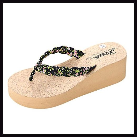 Webla Frauen Leopard Flip Flops Hausschuhe Strand Sandalen Sommer Home Schuhe (39, schwarz) - Sandalen für frauen (*Partner-Link)