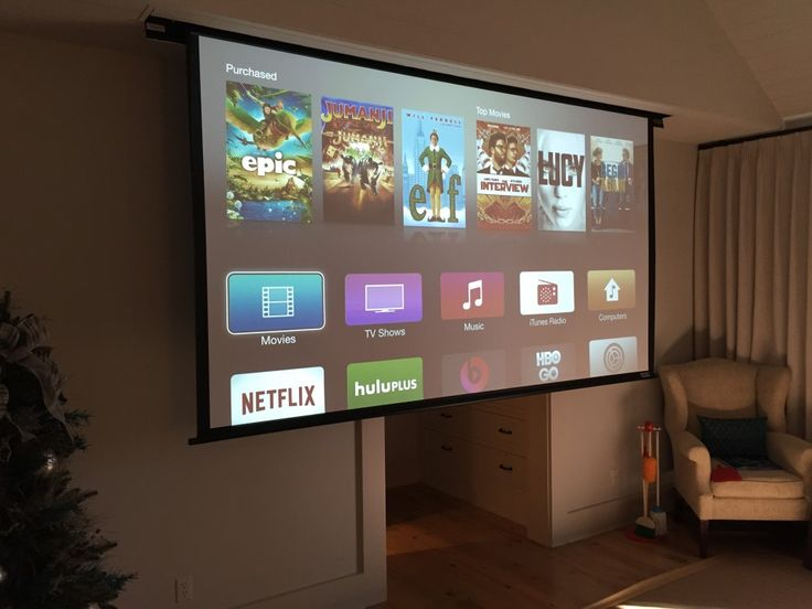 "Drop down 132"" projector screen in your bedroom? Um! Yes please! #BedroomUpgrade"