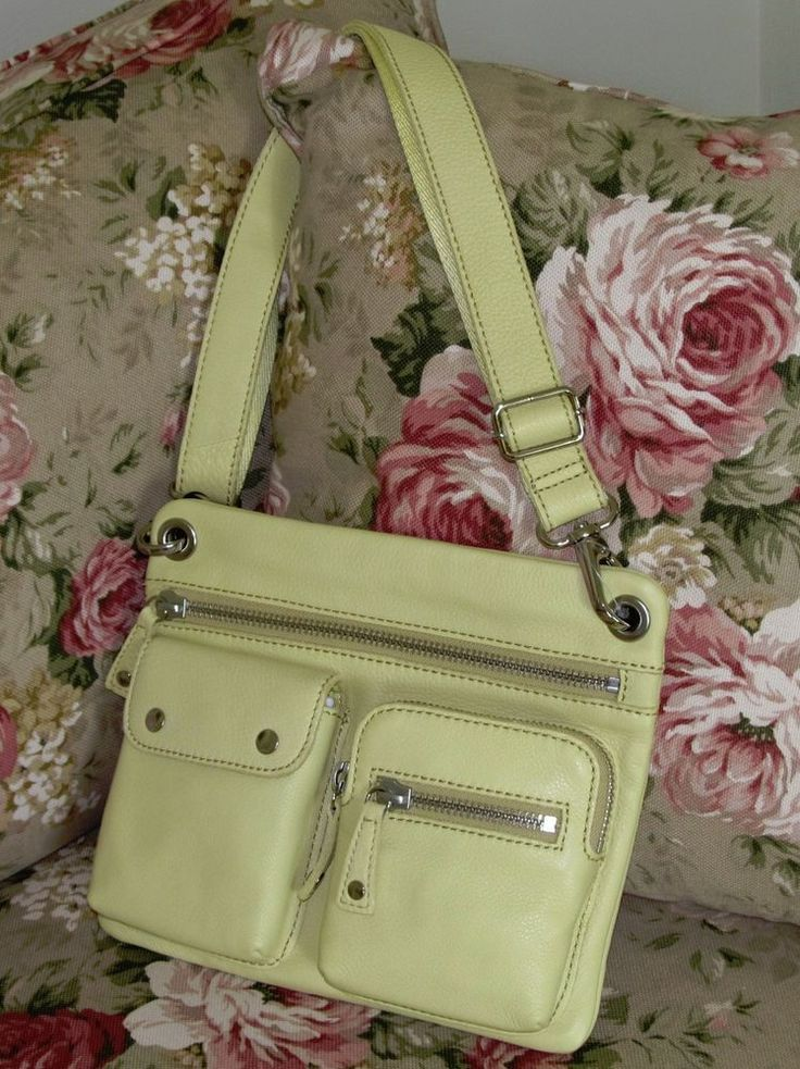 FOSSIL Yellow Pebbled Leather SUTTON Zip Cross Body / Shoulder Handbag Bag NEW  #Fossil #ShoulderBag