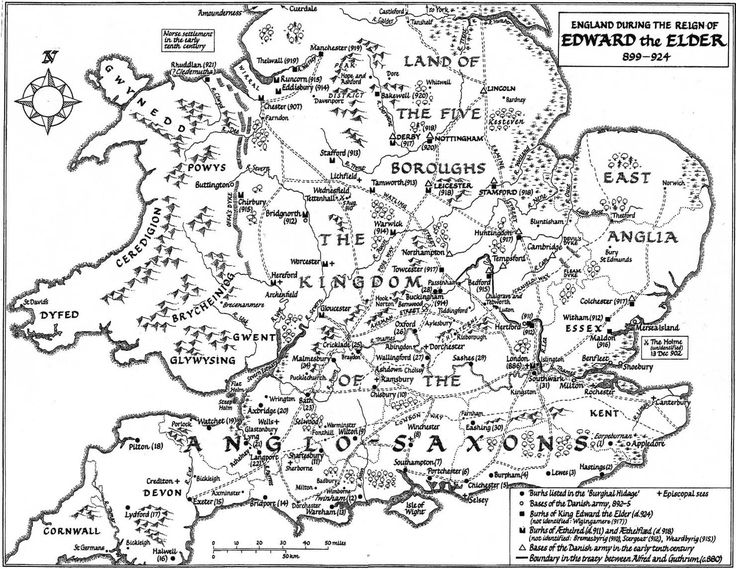 Edward the Elder took over the rule of England after his father, King Alfred dies. Sadly Edward didn't make as much of an impression on our history as his father. Here's a map of the divides between the Danes invasion and lands firmly under Edwards rule