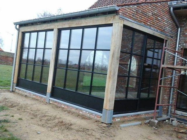 99 best images about houten aanbouw op pinterest ramen zoeken en veranda 39 s - Keuken steen en hout ...