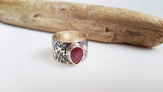 Fern Etched Sterling Silver and Red Sapphire Ring