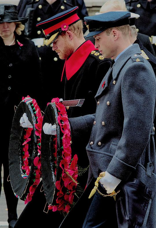Prince Harry and Prince William, Duke of Cambridge lay wreaths during the annual Remembrance Sunday memorial on November 12, 2017 in London, England.