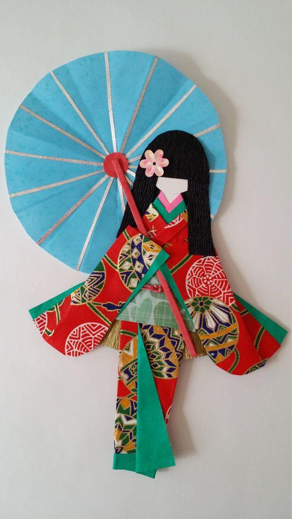Origami Washi Ningyo muñecas de papel Kimono por Kitspaperworld
