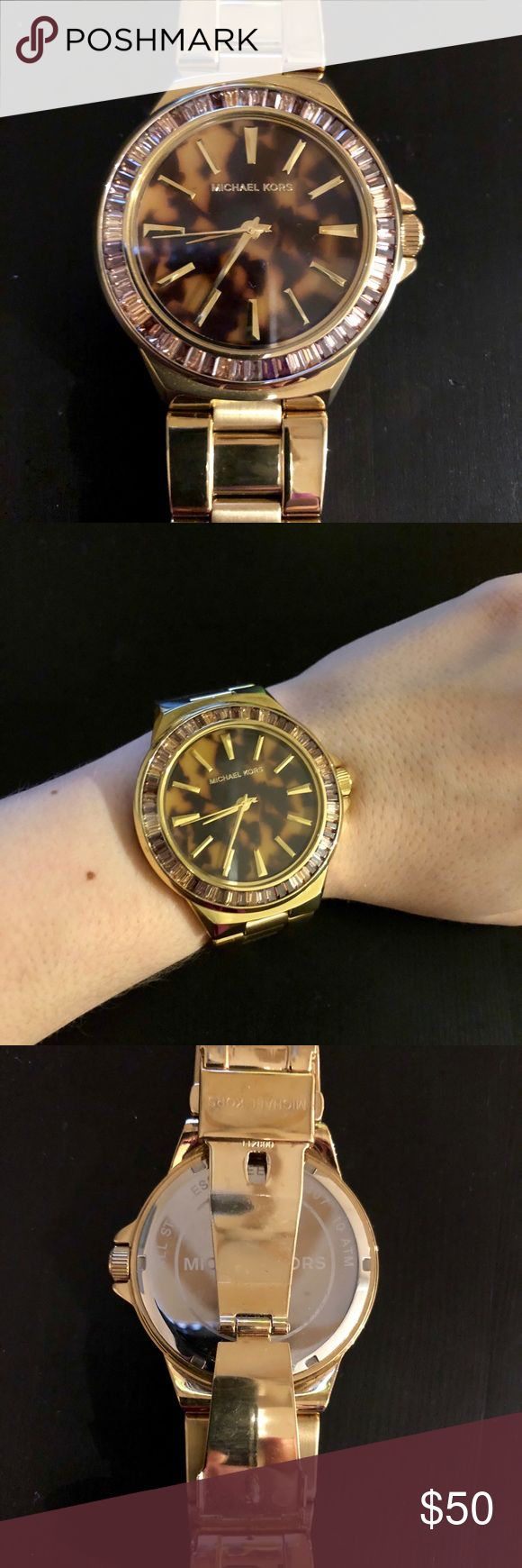 Gold Tortoise Shell Michael Kors Watch Good tortoise shell Watch with rhinestone detail around the face.  It does need a new battery. Michael Kors Accessories Watches