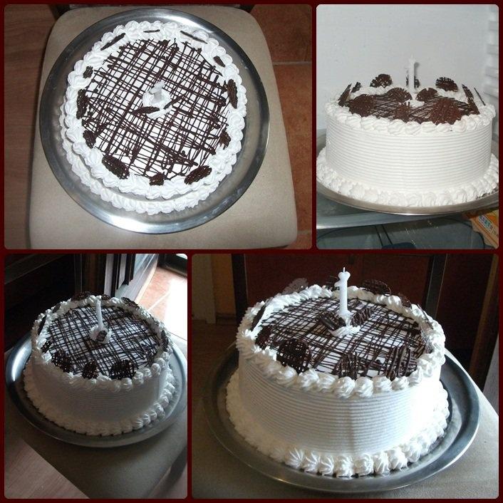 Simple cake with self-made chocolate decoration - Csokidíszítésű torta saját készítésű díszekkel