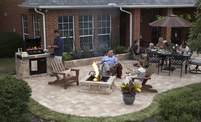 stonepatio with fire pit | RumbleStone Patio, Grill Enclosure, Fire Pit