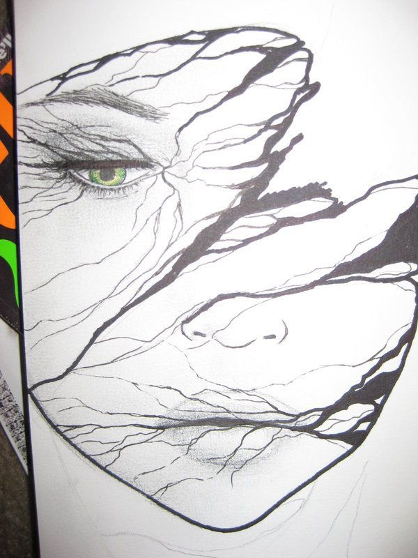 """http://geocide.deviantart.com Goddamned genius,right here.I call this one """"Green-Eyed VeryClose"""",because of her piercing eye shown,as well as the varicosity(?) of the story and trails the slashing lines tell...Beautiful and telling,as all great art is..DIG IT!!"""