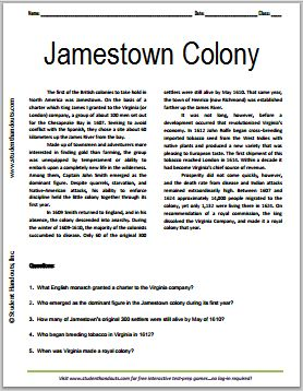 Jamestown Colony - Free Printable American History Reading with Questions, Grades 7-12
