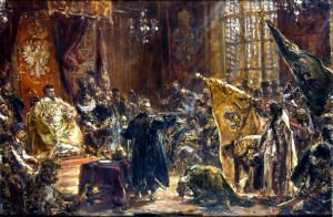 Hołd ruski - Carowie Szujscy na Sejmie Warszawskim 29 października 1611 - Jan Matejko