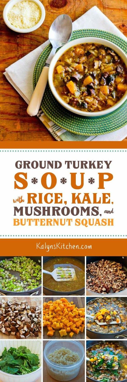 Ground Turkey Soup Recipe with Rice, Kale, Mushrooms, and Butternut Squash is a delicious gluten-free and South Beach Diet Phase Two soup that also freezes well. [found on KalynsKitchen.com]