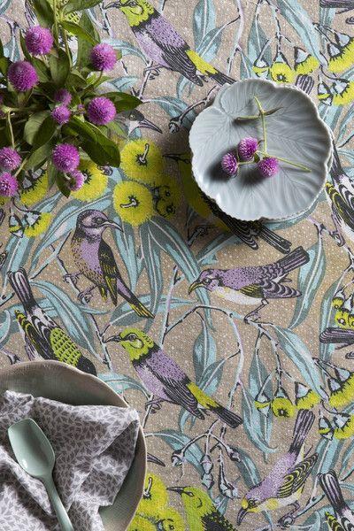 Linen/Cotton Tablecloth, Flowering Gum - Beige | Utopia Goods