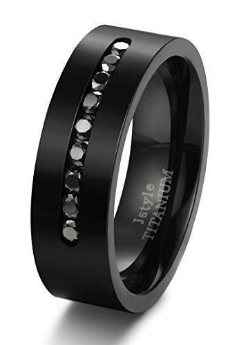 Jstyle Jewelry 8MM Titanium Rings for Men Wedding Engagement Rings Black CZ Size 8-14