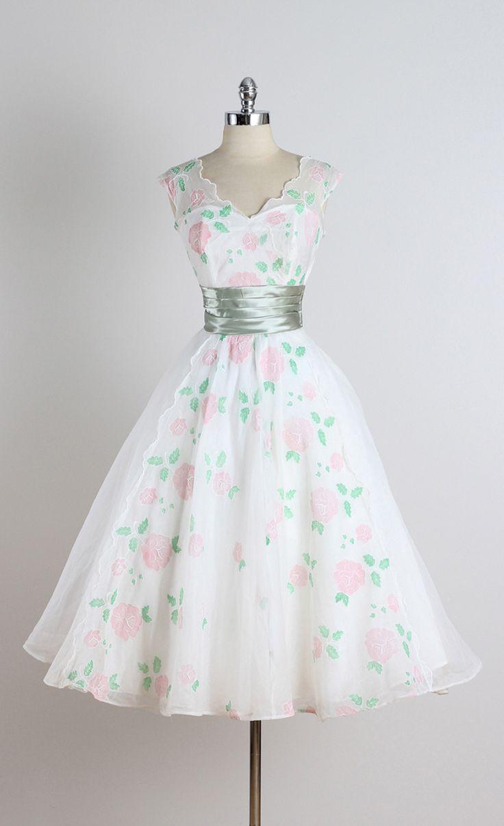 Vintage 1950s White Rose Organza Cocktail Dress