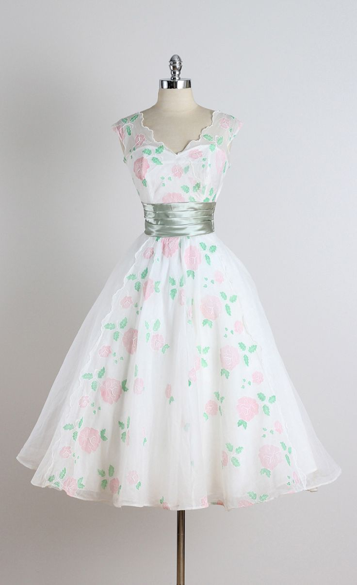 Vintage 1950s White Rose Organza Cocktail Dress | From a collection of rare vintage evening dresses at https://www.1stdibs.com/fashion/clothing/evening-dresses/