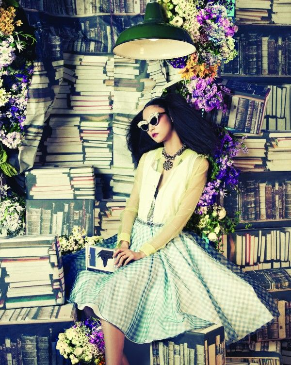 Books, flowers & a gingham skirt | 'One Dream' for Vogue Korea June '12