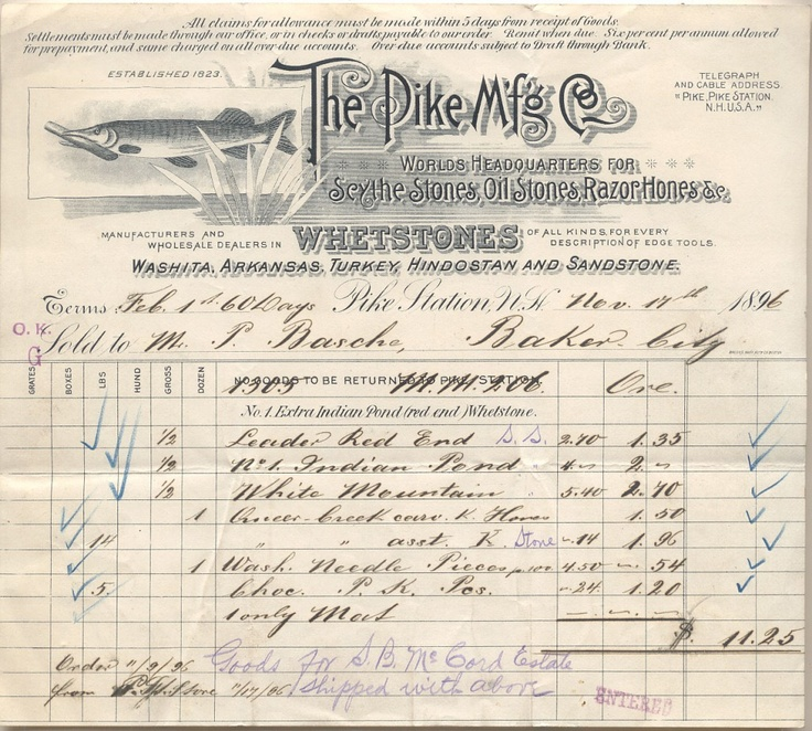 pike's manufacturing co -- whetstone makers 1896 letterhead