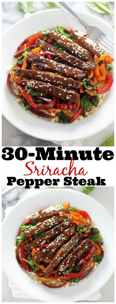 30-Minute Sriracha Pepper Steak - Full of flavor and SO fast! Even picky eaters love this recipe.