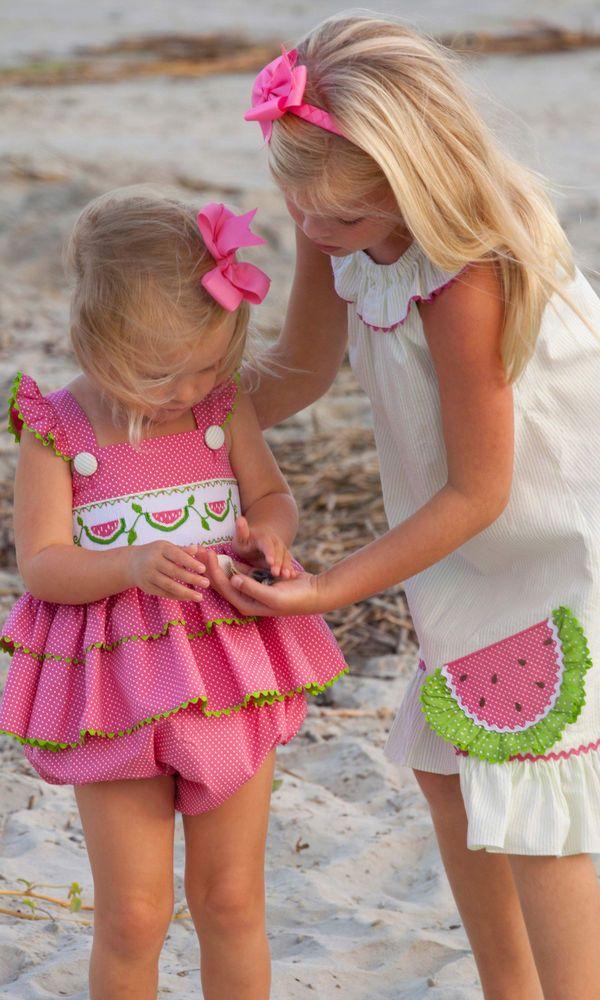 Shrimp and Grits Kids Smocked Watermelon Bubble #ShrimpandGritsKids #DressyEverydayHoliday