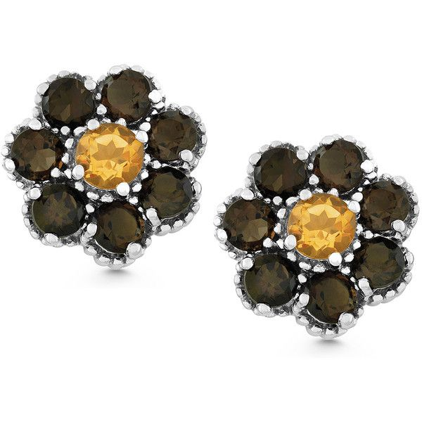 La Preciosa Sterling Silver Smoky Quartz and Citrine Flower Stud... ($59) ❤ liked on Polyvore featuring jewelry, earrings, white, smoky quartz stud earrings, flower stud earrings, long stud earrings, stud earrings and citrine stud earrings