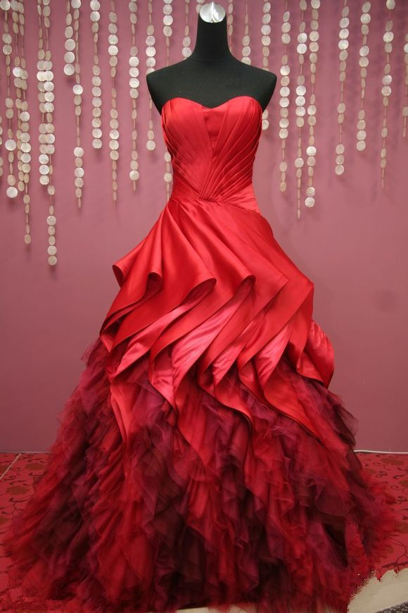 Fashion Ball Gown Sweetheart Floor length Open back Fold Red Quinceanera Dresses  Bridal gowns-in Quinceanera Dresses from Apparel & Accesso...